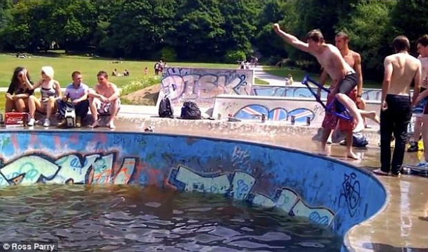 hebden bridge bowls turned into river swimming pool caught in the crossfire