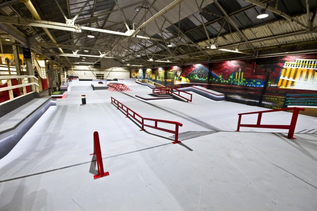 Spot check ramp 1 skatepark features caught in the for Indoor skatepark design uk