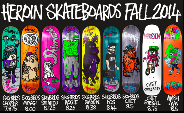 product preview  heroin skateboards fall 2014 decks